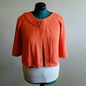 EUC coral cropped cardigan with 3/4 sleeves size m